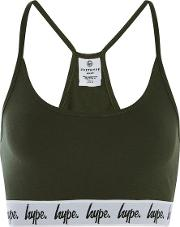 Hype , Womens Khaki Taped Bralet By Hype