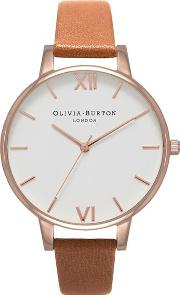 Olivia Burton , Womens White Dial Tan And Rose Gold Watch By