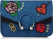 Skinny Dip , Womens Denim City Embroidered Cross Bag By Skinnydip