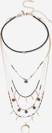 Topshop , Womens Bead And Shell Multirow Choker Necklace