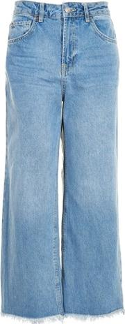 Topshop , Womens Moto Mid Blue Cropped Wide Leg Jeans
