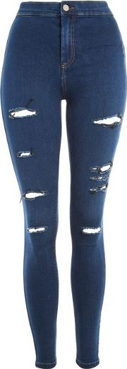 Topshop , Womens Moto Rich Blue Super Ripped Joni Jeans