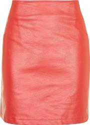 Wyldr , Womens Janice Red Faux Leather Skirt By