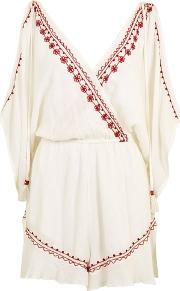 Band Of Gypsies , Womens Embroidered Flower Playsuit By