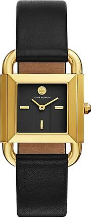 Tory Burch , Phipps Watch, Black Leathergold Tone, 29 X 41 Mm