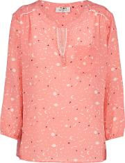 Pyrus , Grace Blouse In Coral Starry Night Print