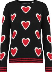 All Over Hearts Sweater In Navy, Cream And Red