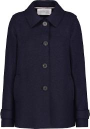 Short Loden Coat In Navy Mouline