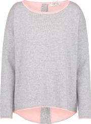 Flared Button Back Jumper In Grey And Peach