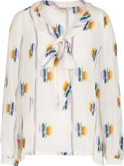 Tie Front Blouse In Follow The Rainbow