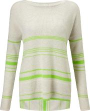Duffy , Stripe Drop Back Jumper In Nuage And Apple Green
