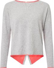 Cocoa Cashmere , Flared Back Jumper In Grey And Fluoro Pink