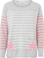 Cocoa Cashmere , Star Pocket Striped Jumper In Grey, Chalk And Pink