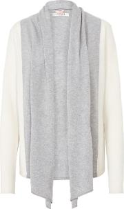Cocoa Cashmere , Striped Cardigan In Grey And Chalk
