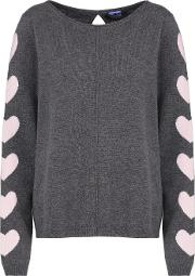 Heart Sleeve Jumper In Ash And Nude