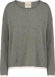 Jumper1234 , Tipped Crew Jumper In Moss And Dawn
