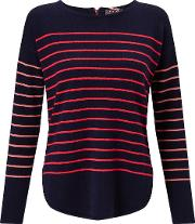 Cocoa Cashmere , Striped Jumper In Navy With Mango