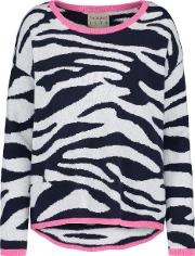 Jumper1234 , Tipped Crew Tiger Jumper In Navy And Grey