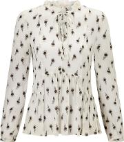 Rebecca Taylor , Long Sleeve Tulip Clip Top In Snow