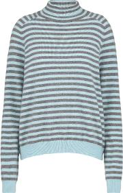 360 Sweater , Erika Stripe Roll Neck Jumper In Heather Grey And Bluebell