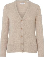 Chinti & Parker , Short Knit Cardigan In Oatmeal Pop Pink
