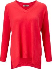Cocoa Cashmere , Oversized V Neck Jumper In Fluoro Pink