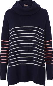 Cocoa Cashmere , Striped Cowl Neck Jumper In Navy, Chalk And Mango