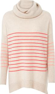 Cocoa Cashmere , Striped Cowl Neck Jumper In Oatmeal, Fluoro Pink And Mango