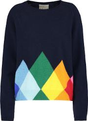 Jumper1234 , Rainbow Diamond Jumper In Navy