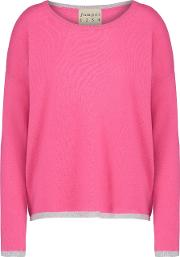 Jumper1234 , Tipped Crew Jumper In Tulip Pink And Grey