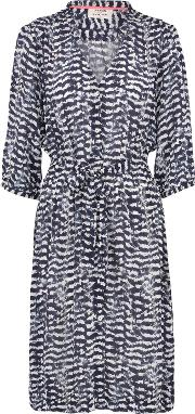 Pyrus , Frankie Dress In Navy Aztec Feather