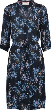 Frankie Tie Waist Dress In Black Valencia Floral