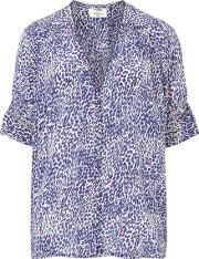 Pyrus , Robin Blouse In Navy Pink Animal Print