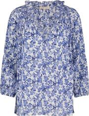 Rebecca Taylor , Long Sleeve Aimee Floral Top In Blue