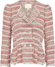 Rebecca Taylor , Optic Tweed Jacket In Candy Apple Combo