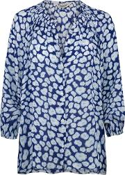 Tucker , Classic Blouse In Navy Animal Print