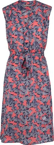 Tucker , Sleeveless Dress In Coral Bows