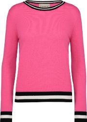 Jumper1234 , Boxy Crew Jumper With Striped Edge In Tulip Pink