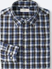 Uniqlo , Men Premium Linen Checked Long Sleeve Shirt