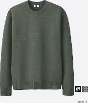 Uniqlo , Men  U Milano Ribbed Crew Neck Sweater Olive Xl