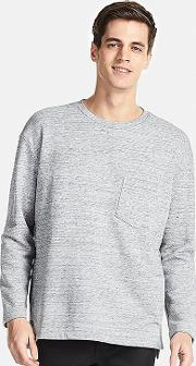 Uniqlo , Men Oversized Long Sleeve Sweat T Shirt Gray M