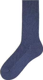 Uniqlo , Men Supima Cotton Pique Socks Blue No Control