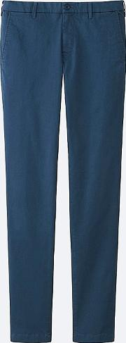 Uniqlo , Men Ultra Stretch Chino Flat Front Trousers Blue 30inch