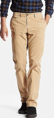 Uniqlo , Men Vintage Regular Fit Chino Flat Front Pants Brown 33inch