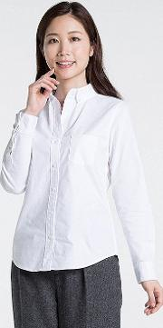 Uniqlo , Women Oxford Slim Fit Stretch Shirt White Xl