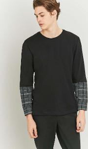 Common Homme , Plaid Insert Long Sleeve T Shirt