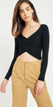 Cooperative By Urban Outfitters , Urban Outfitters Cropped Twist Front Ribbed Long Sleeve T Shirt