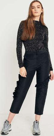 Light Before Dark , High Rise Cropped Ruffle Trousers