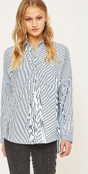 Cooperative By Urban Outfitters , Urban Outfitters Banker Striped Slouchy Button Down Shirt
