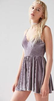 Kimchi Blue , Vanessa Velvet Fit And Flare Playsuit, Lilac